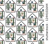 seamless pattern home plants... | Shutterstock .eps vector #1244102644