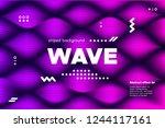3d distorted wave lines.... | Shutterstock .eps vector #1244117161