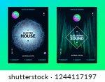 techno music poster. wave flyer ... | Shutterstock .eps vector #1244117197