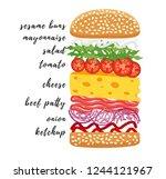 poster lettering burger. hand... | Shutterstock .eps vector #1244121967