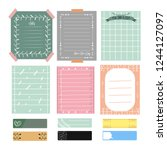 cute notes and journal. set of... | Shutterstock .eps vector #1244127097