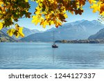 beautiful sunny day in alps.... | Shutterstock . vector #1244127337