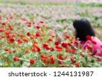 blurry image of girl in garden | Shutterstock . vector #1244131987
