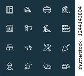 construction icons line style... | Shutterstock .eps vector #1244143804