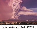 volcano eruption exposure | Shutterstock . vector #1244147821