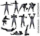 set of black vector silhouettes ... | Shutterstock .eps vector #1244156044