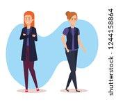 group of businesswomen avatars... | Shutterstock .eps vector #1244158864