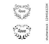 floral love frame simple... | Shutterstock .eps vector #1244161234