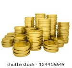 Pile Gold Coins. Isolated...