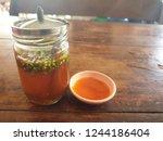 Stock photo nam pla prik thai dip sauce and chilli sauce at local thai restaurant 1244186404