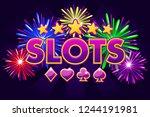 casino slots  banner on violet...