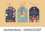 christmas gift tags set with... | Shutterstock .eps vector #1244221207