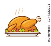 roast turkey or chicken on... | Shutterstock .eps vector #1244222221