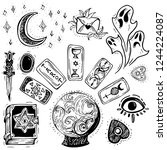 hand drawn wicca magic crystal... | Shutterstock .eps vector #1244224087