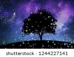 magic night lanscape with tree... | Shutterstock . vector #1244227141