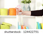sprayed air freshener in hand...   Shutterstock . vector #124422751