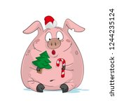 cartoon christmas pig with... | Shutterstock .eps vector #1244235124