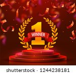 stage podium with lighting and... | Shutterstock .eps vector #1244238181