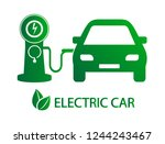 electro car icon. the car is... | Shutterstock .eps vector #1244243467