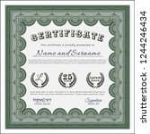 green diploma template. with... | Shutterstock .eps vector #1244246434