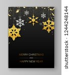 black merry christmas and happy ... | Shutterstock .eps vector #1244248144