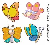 Stock vector funny and cute bright color butterfly set flying happily vector 1244249287