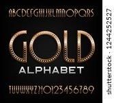 ornate gold alphabet font. art... | Shutterstock .eps vector #1244252527