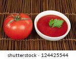 tomato and bowl of tomato sauce ...   Shutterstock . vector #124425544