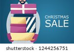 man with christmas gifts.... | Shutterstock .eps vector #1244256751