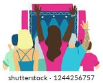 people relaxing at a open air... | Shutterstock .eps vector #1244256757