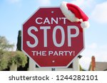 stop sign. red stop sign with... | Shutterstock . vector #1244282101