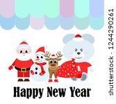 christmas card  santa snowman... | Shutterstock .eps vector #1244290261