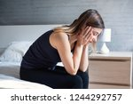 portrait of depressed woman... | Shutterstock . vector #1244292757