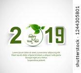 beautiful happy new year 2019... | Shutterstock .eps vector #1244305801