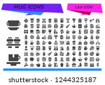vector icons pack of 120 filled ... | Shutterstock .eps vector #1244325187