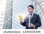 portrait of businessman hold...   Shutterstock . vector #1244325334
