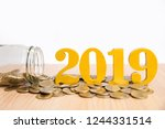 savings new year concept.word... | Shutterstock . vector #1244331514