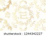 hand drawn golden botanical... | Shutterstock .eps vector #1244342227