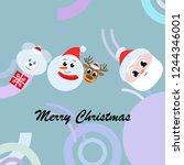 christmas card  santa snowman... | Shutterstock .eps vector #1244346001