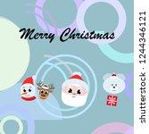 christmas card  santa snowman... | Shutterstock .eps vector #1244346121