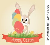 vector easter graphical... | Shutterstock .eps vector #124434709