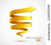 yellow spiral arrow 3d. | Shutterstock .eps vector #124435549