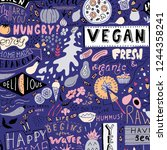 restaurant and cafe doodle... | Shutterstock .eps vector #1244358241