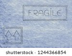 fragile sign and arrows up on... | Shutterstock . vector #1244366854
