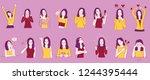 set of woman character in... | Shutterstock .eps vector #1244395444