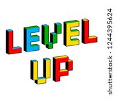 level up text in style of old 8 ... | Shutterstock .eps vector #1244395624