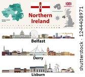 northern ireland counties map... | Shutterstock .eps vector #1244408971
