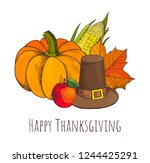 happy thanksgiving day  poster... | Shutterstock .eps vector #1244425291