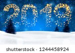 christmas night background with ... | Shutterstock .eps vector #1244458924