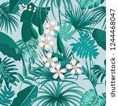 vector tropical seamless... | Shutterstock .eps vector #1244468047
